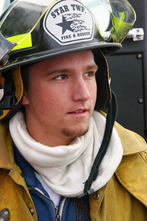 Daryn Hoogerhyde is a volunteer firefighter with Star Township Fire District