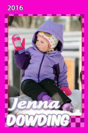 Sweet little Jenna watches as her big brother Jack races in the snowmobile races