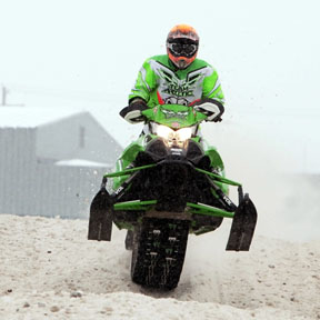 Tracy Doyle, of Brighton, races in West Michigan SnoX event at Cadillac MI
